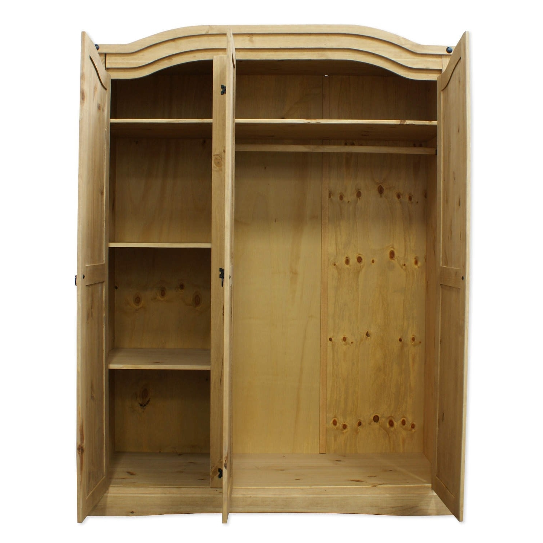 Best And Newest Mexican Rustic Solid Wooden Pine Corona 3 Door Wardrobe + Shelves Intended For Corona 3 Door Wardrobes (View 5 of 15)