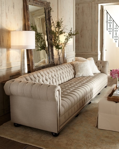Best And Newest Old Hickory Tannery Hudson Tufted Linen Sofas And Loveseat Within Tufted Linen Sofas (View 3 of 10)