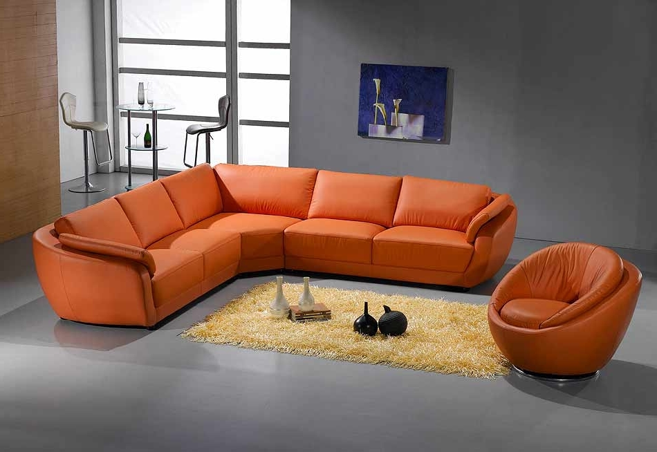 Best And Newest Orange Sectional Sofa Leather (View 3 of 10)
