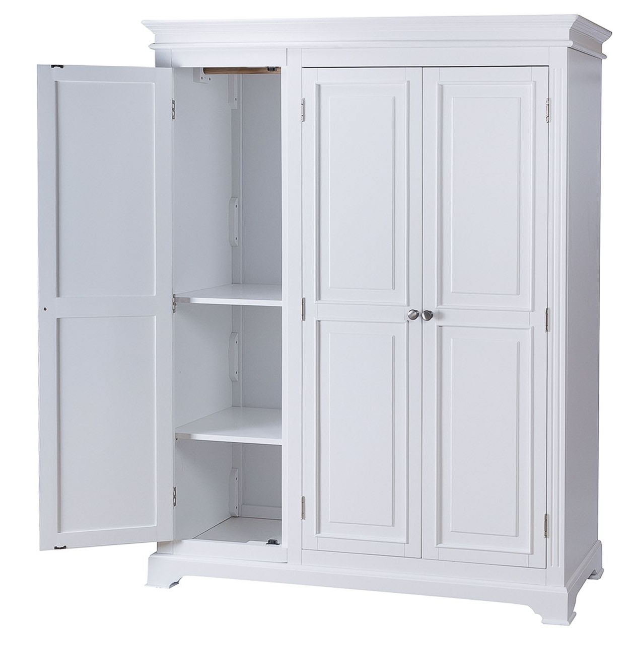 Best And Newest Painted Triple Wardrobes In White Painted Triple Three Door Large Wardrobe (View 2 of 15)