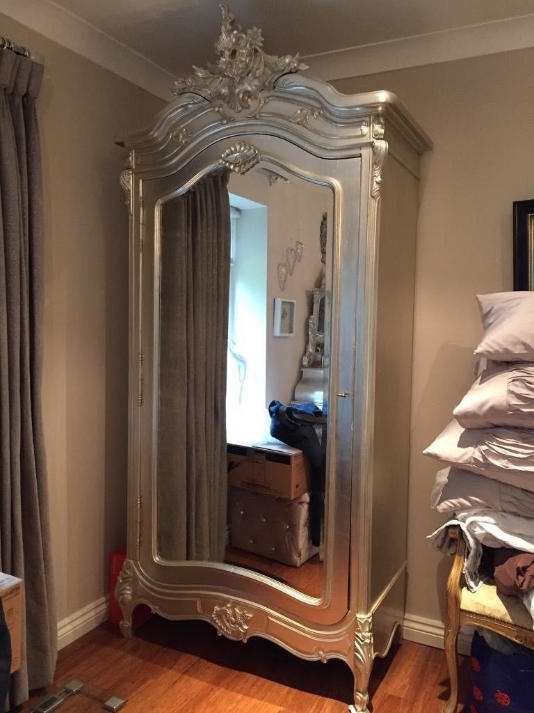Best And Newest Silver French Wardrobes Throughout French Louis Shabby Chic Tiffany Silver Boudoir Chateau Mirrored (View 4 of 15)
