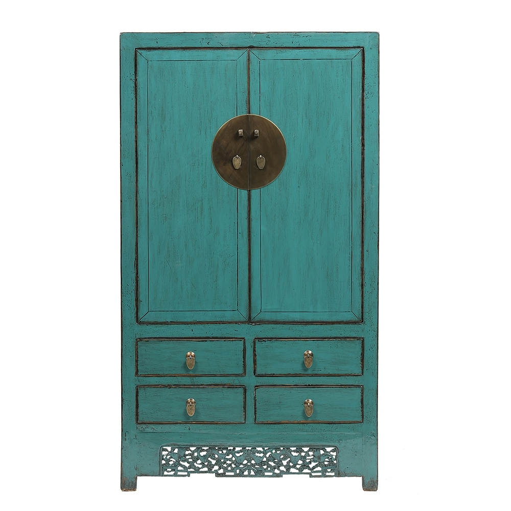 Best And Newest Turquoise Vintage Chinese Wardrobe From Shanxi (View 3 of 15)
