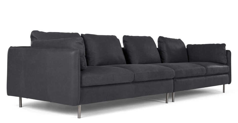 Best And Newest Vento 4 Seater Sofa, Grey Leather (View 5 of 15)