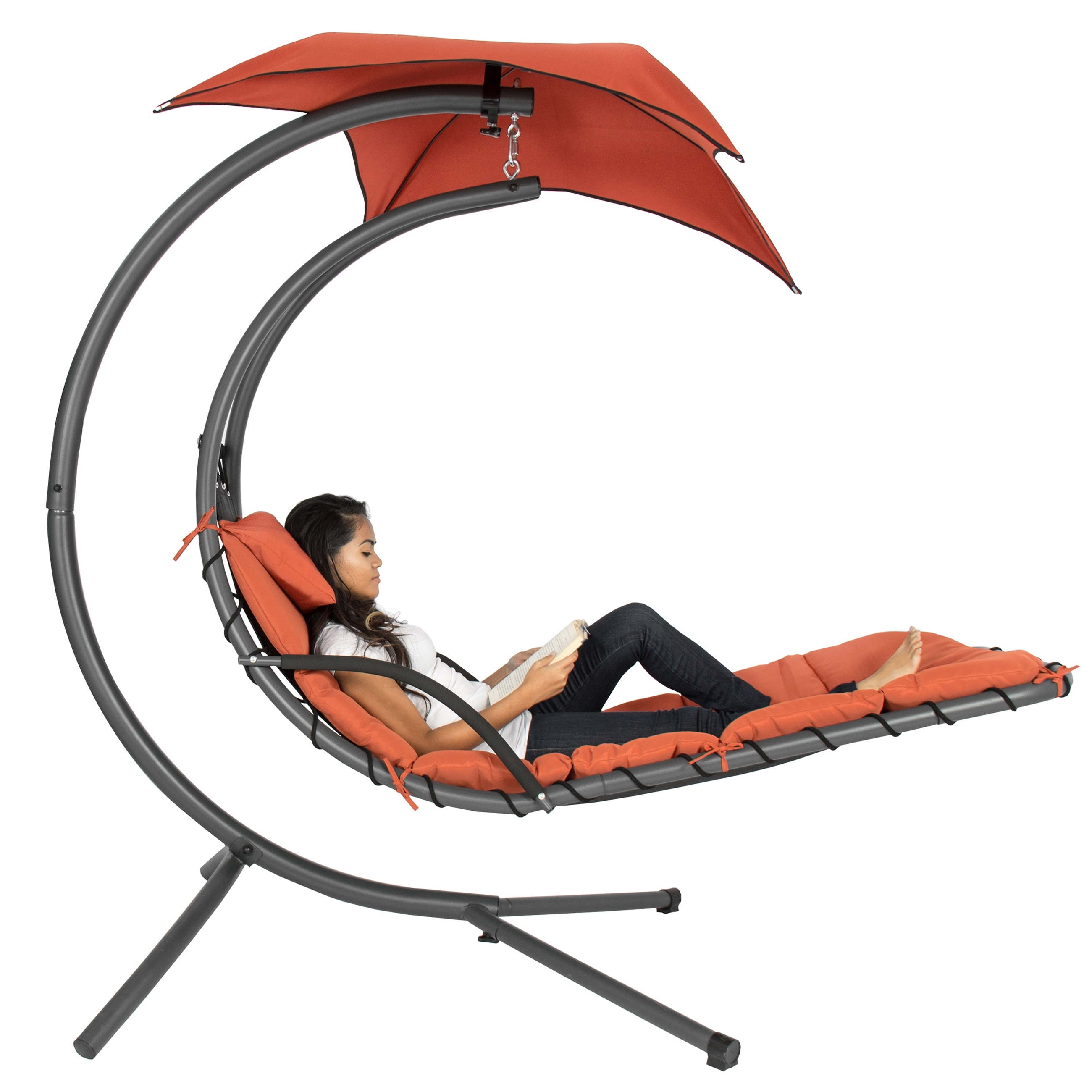 Best Choice Products Hanging Chaise Lounger Chair Arc Stand Air Within Trendy Hanging Chaise Lounge Chairs (View 2 of 15)