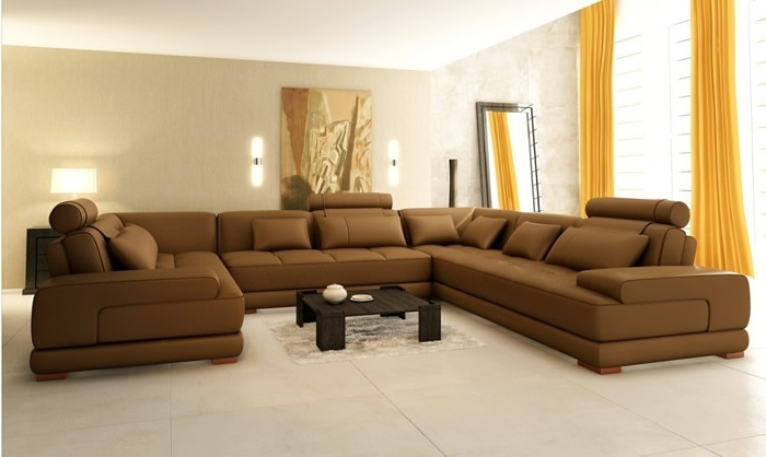Best Leather Sectional Sofa And Living Room Design Best U Shaped Pertaining To Latest U Shaped Leather Sectional Sofas (View 2 of 10)