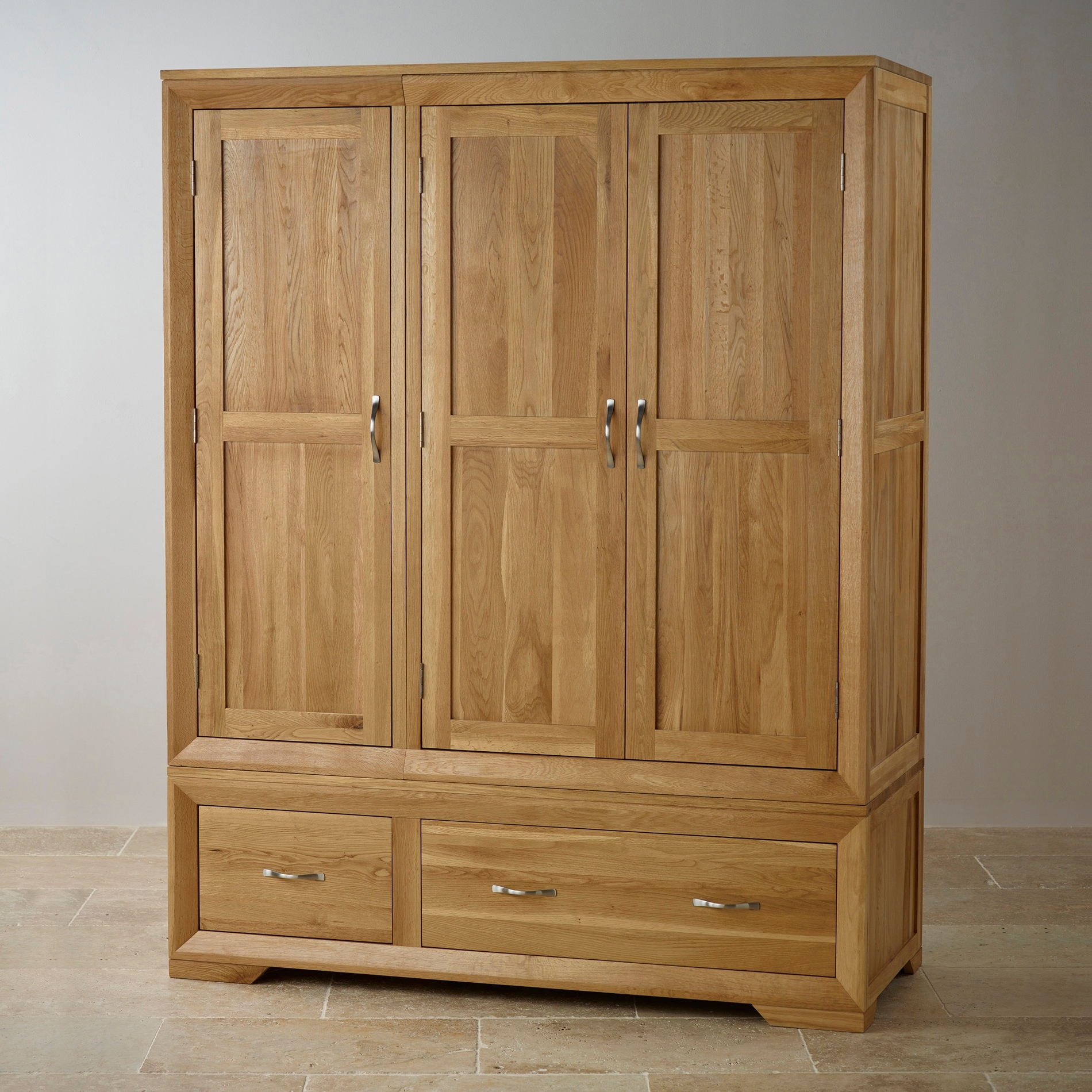 Bevel Natural Solid Oak Triple Wardrobeoak Furniture Land In Current Triple Oak Wardrobes (View 3 of 15)