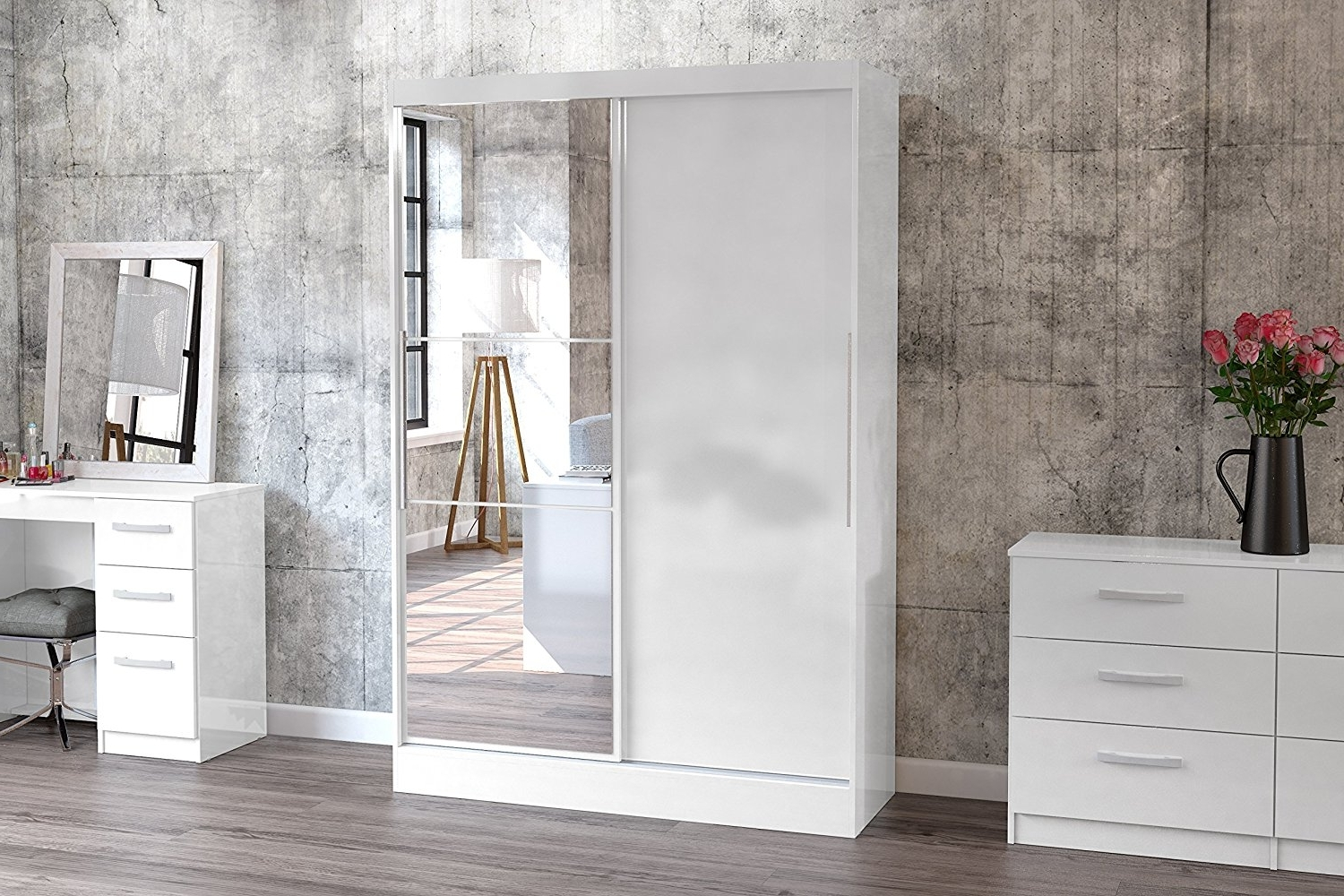 Birlea Lynx 2 Door Sliding Wardrobe With Mirror – High Gloss Within Popular White Gloss Mirrored Wardrobes (View 2 of 15)