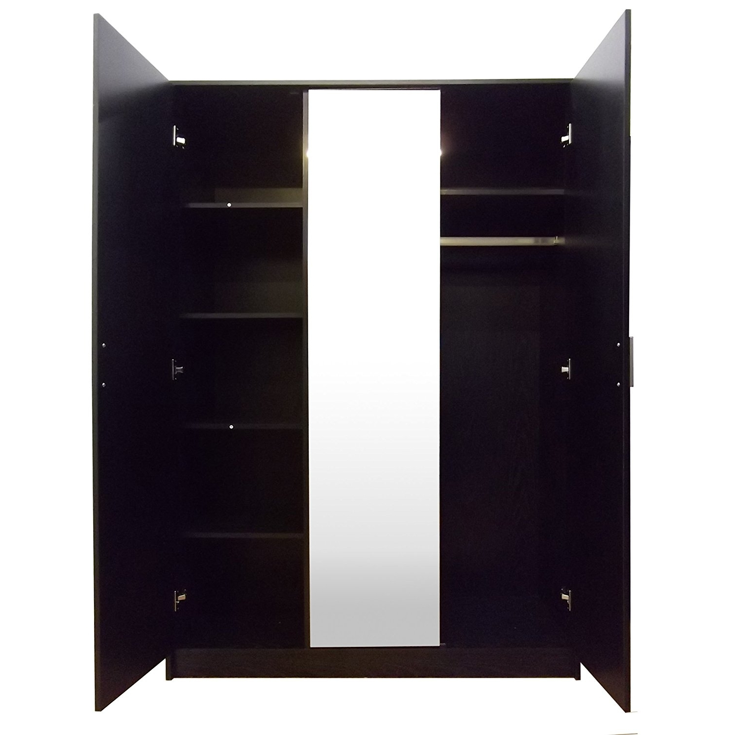"Black 3 Door Wardrobes With Regard To Fashionable Direct Furniture ""khabat"" 3 Door Mirrored Wardrobe, Mdf/chipboard (View 6 of 15)"