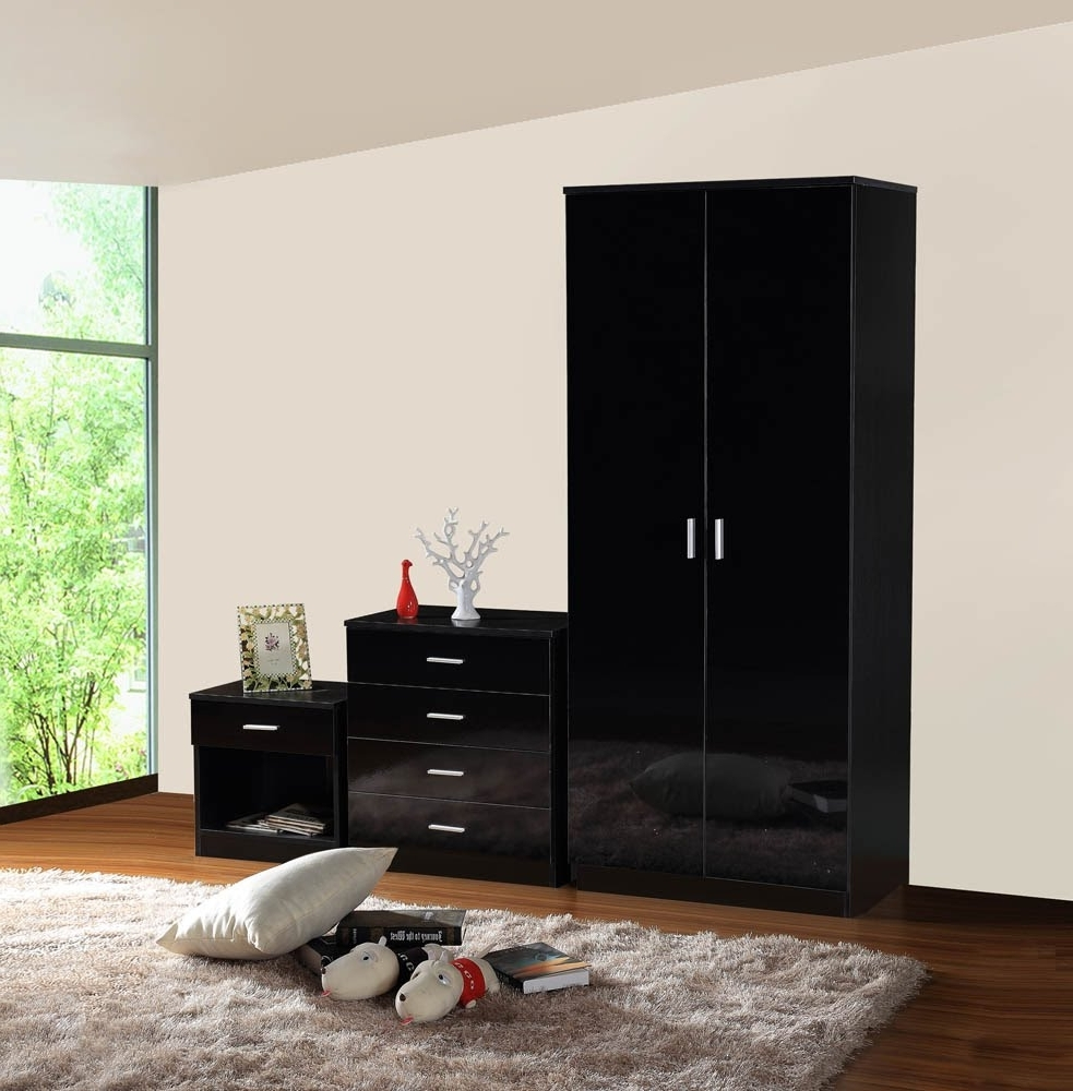 Black And White Wardrobes Set Regarding 2018 Gladini Black High Gloss 3 Piece Bedroom Furniture Set – Wardrobe (View 6 of 15)