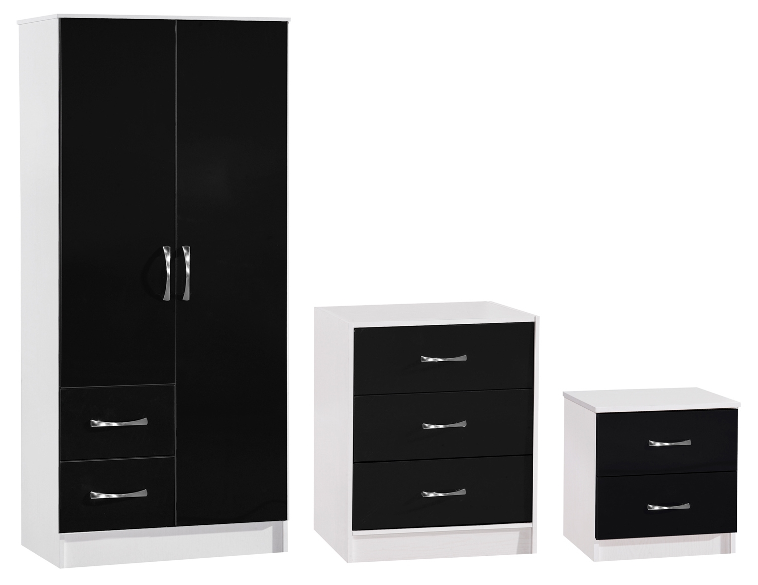Black And White Wardrobes Set Throughout Recent Marina Black White High Gloss Bedroom Furniture – Set Wardrobe (View 8 of 15)