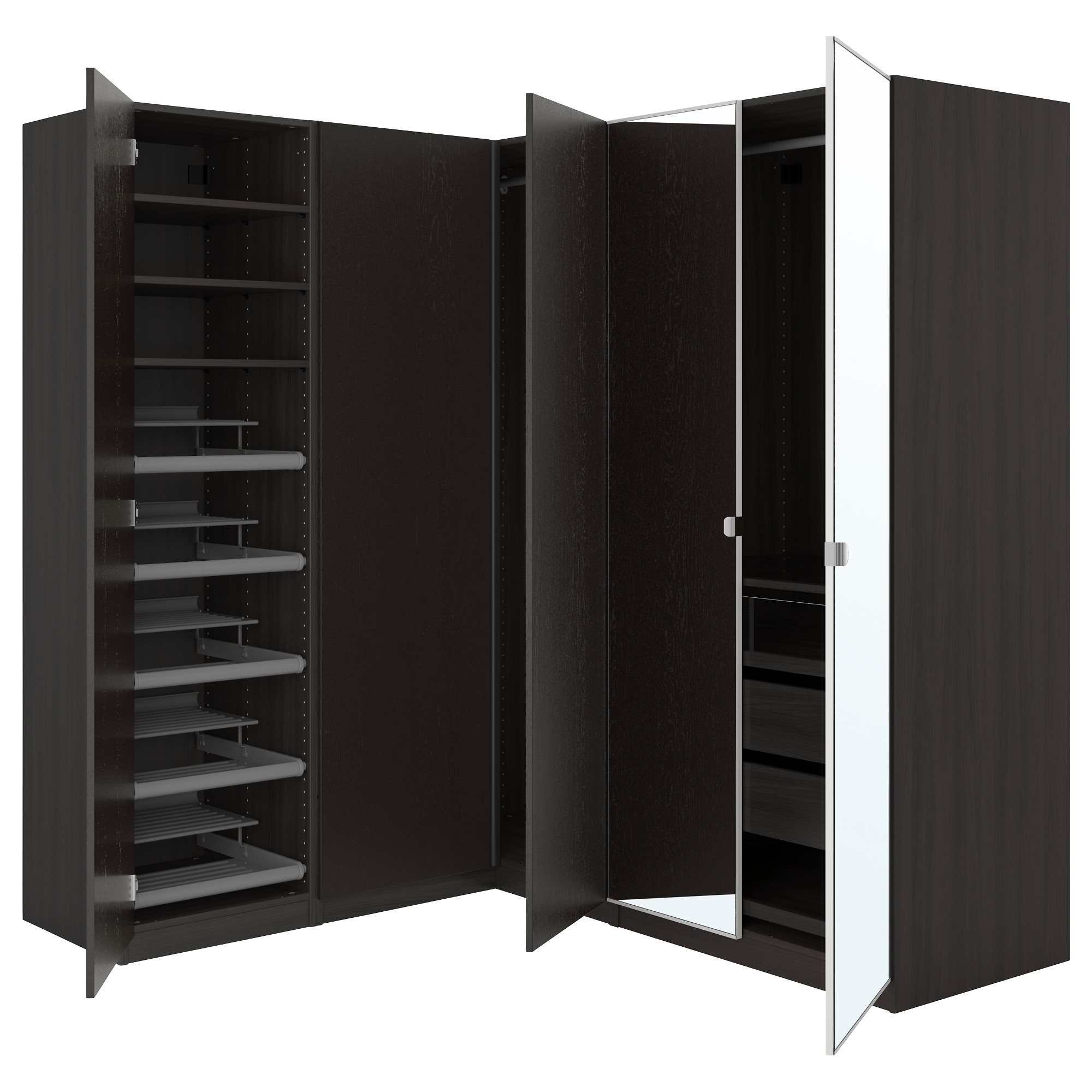 "Black Corner Wardrobes With Best And Newest Pax Corner Wardrobe – 82 3/4/63 1/8X93 1/8 "" – Ikea (View 5 of 15)"