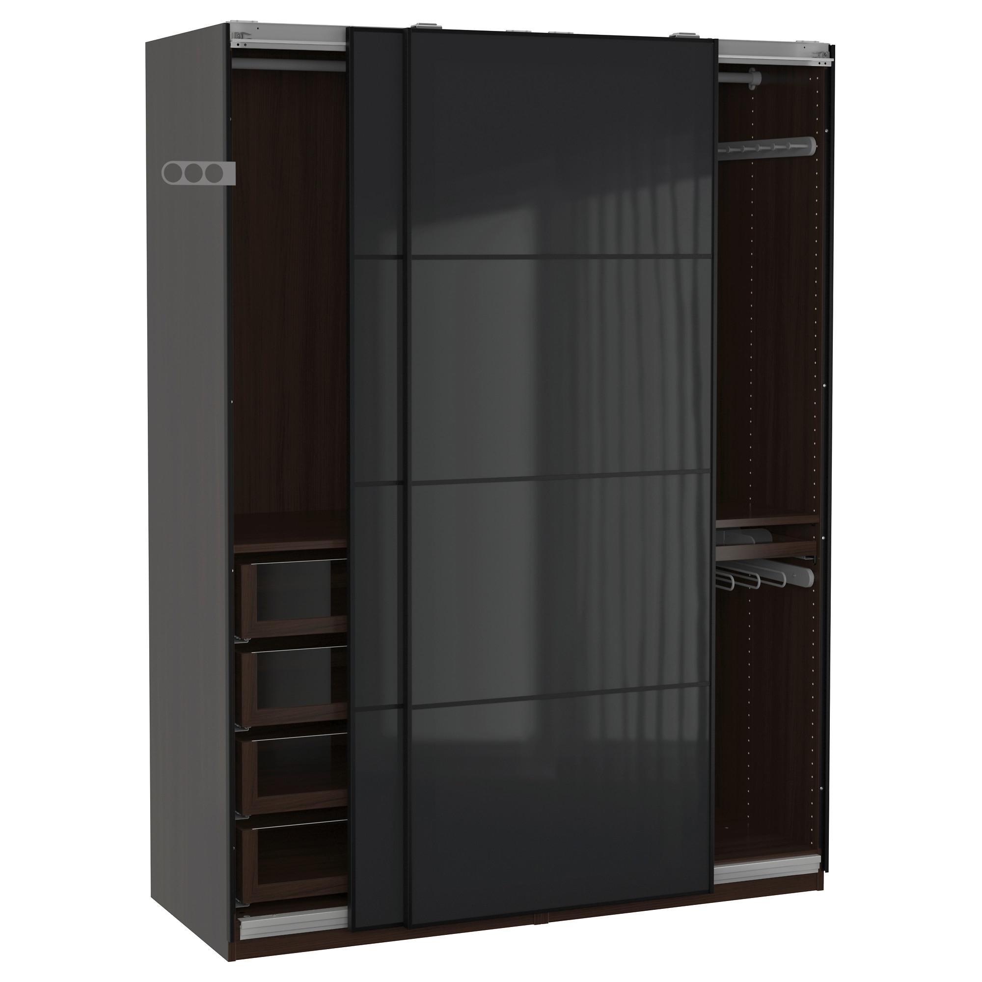 Black Glass Wardrobes With Regard To 2017 Pax Wardrobe Black Brown/uggdal Grey Glass 150X66X201 Cm – Ikea (View 3 of 15)