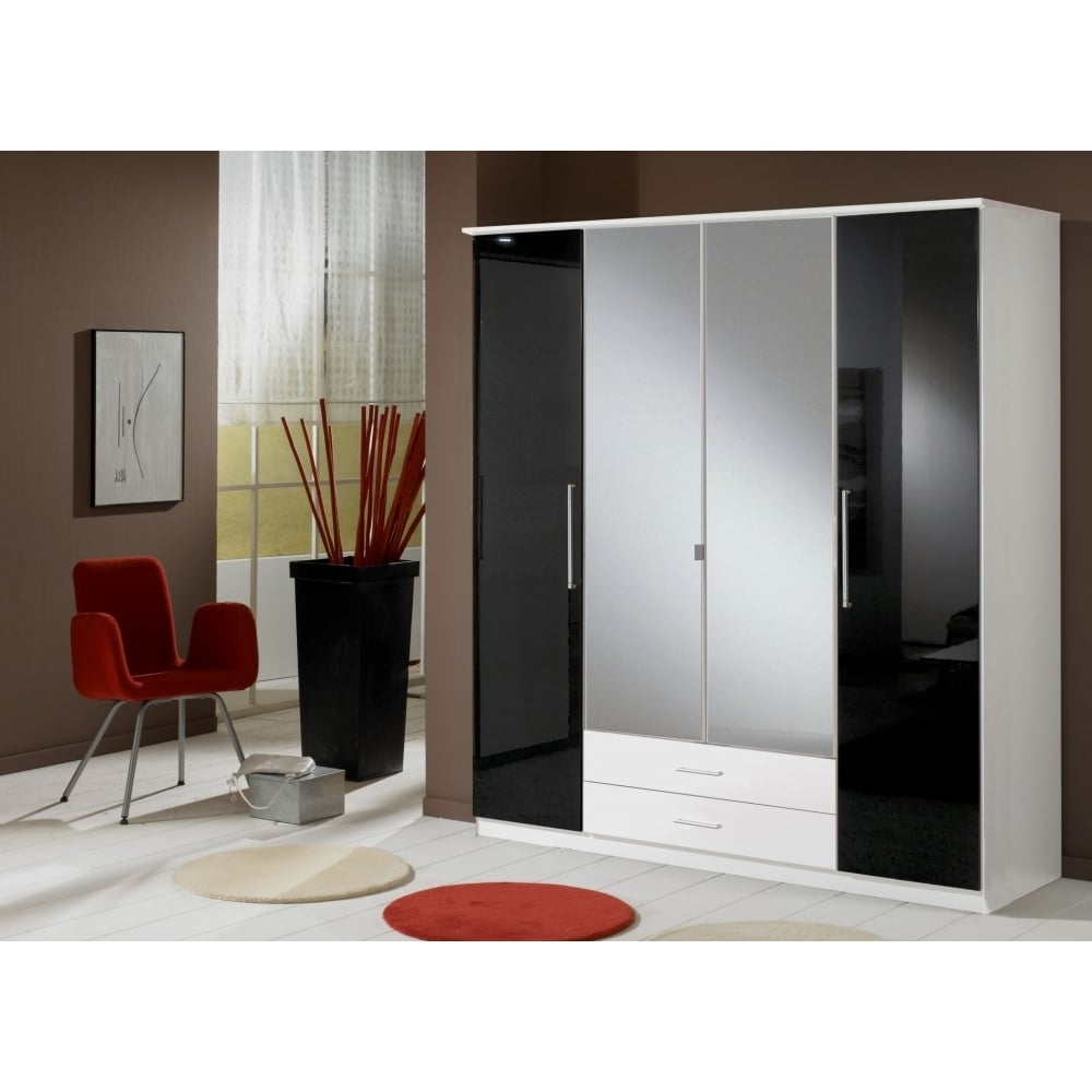 Black Gloss Wardrobes Throughout Widely Used Door 2 Drawer Black Gloss & White Wardrobe – 180Cm (View 4 of 15)
