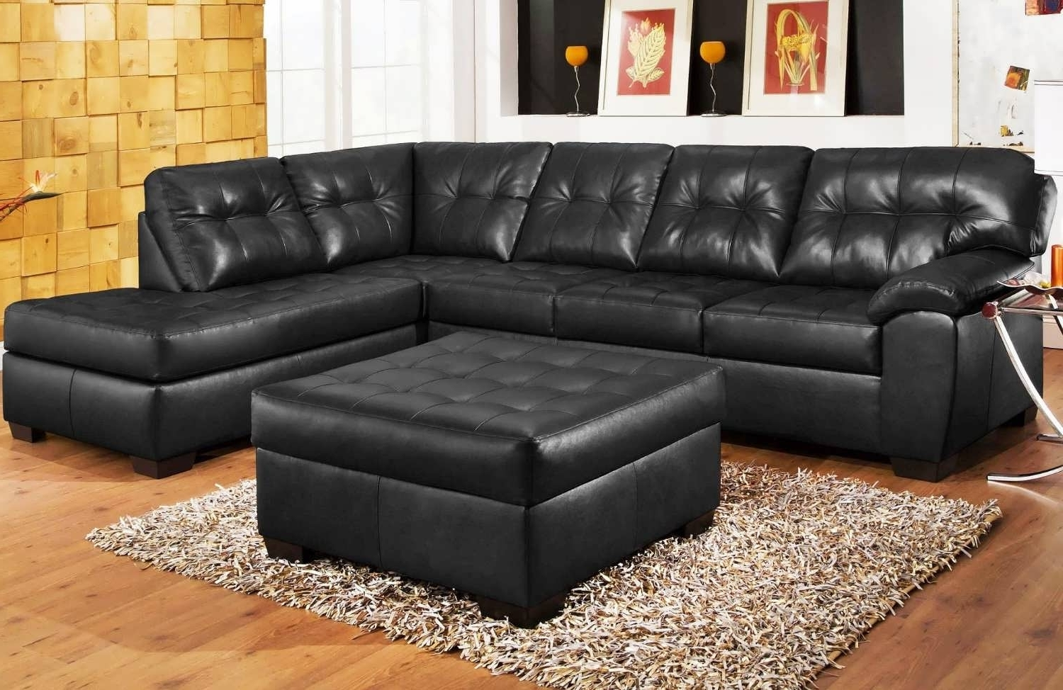 Black Leather Chaise Sofa Endearing Black Leather