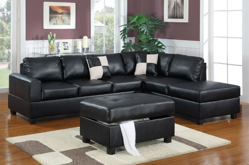 Black Leather Sectionals With Ottoman Pertaining To Recent Black Leather Sectional Sofa And Ottoman – Steal A Sofa Furniture (View 3 of 10)