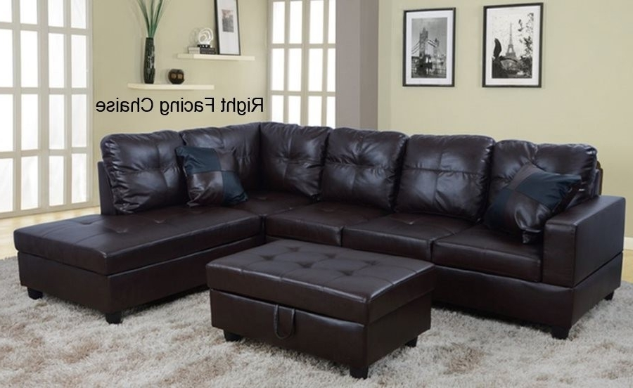 Black Leather Sectionals With Ottoman Throughout Favorite Low Profile Espresso Faux Leather Sectional Sofa W/ Right Arm (View 7 of 10)