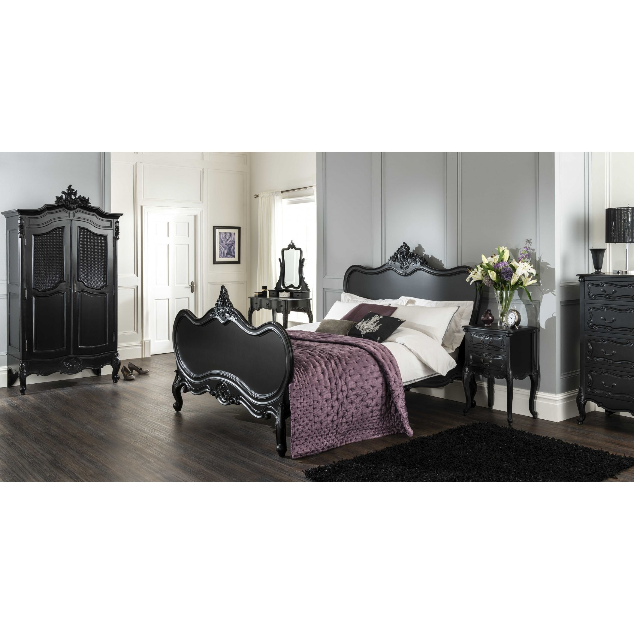 Black Painted Furniture With Regard To Fashionable Black French Style Wardrobes (View 4 of 15)