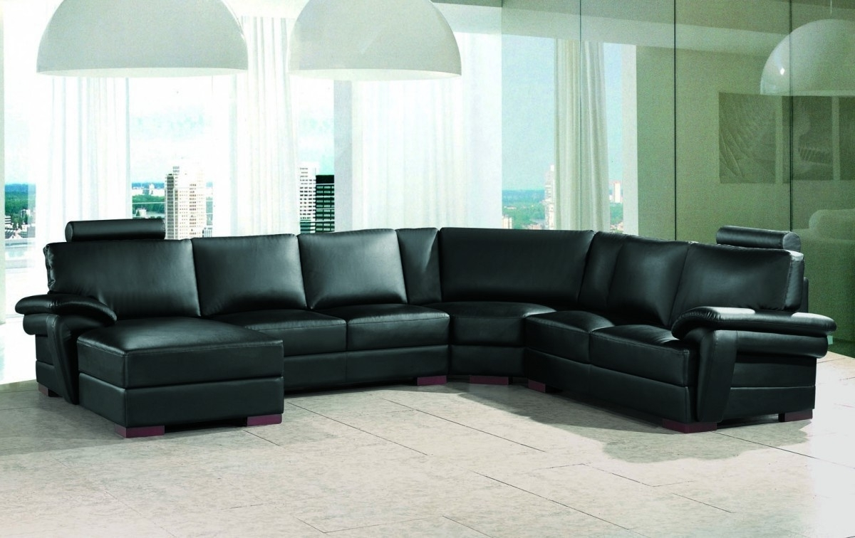 Black Reclining Sectional Sofa Black Leather Contemporary Regarding Most Current Black Leather Sectionals With Chaise (View 6 of 15)