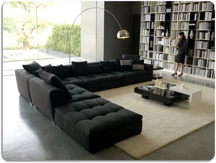 Black Sectional Sofa In A Huge Library Like Office Huge Sectional Throughout Most Recent Huge Sofas (View 10 of 10)