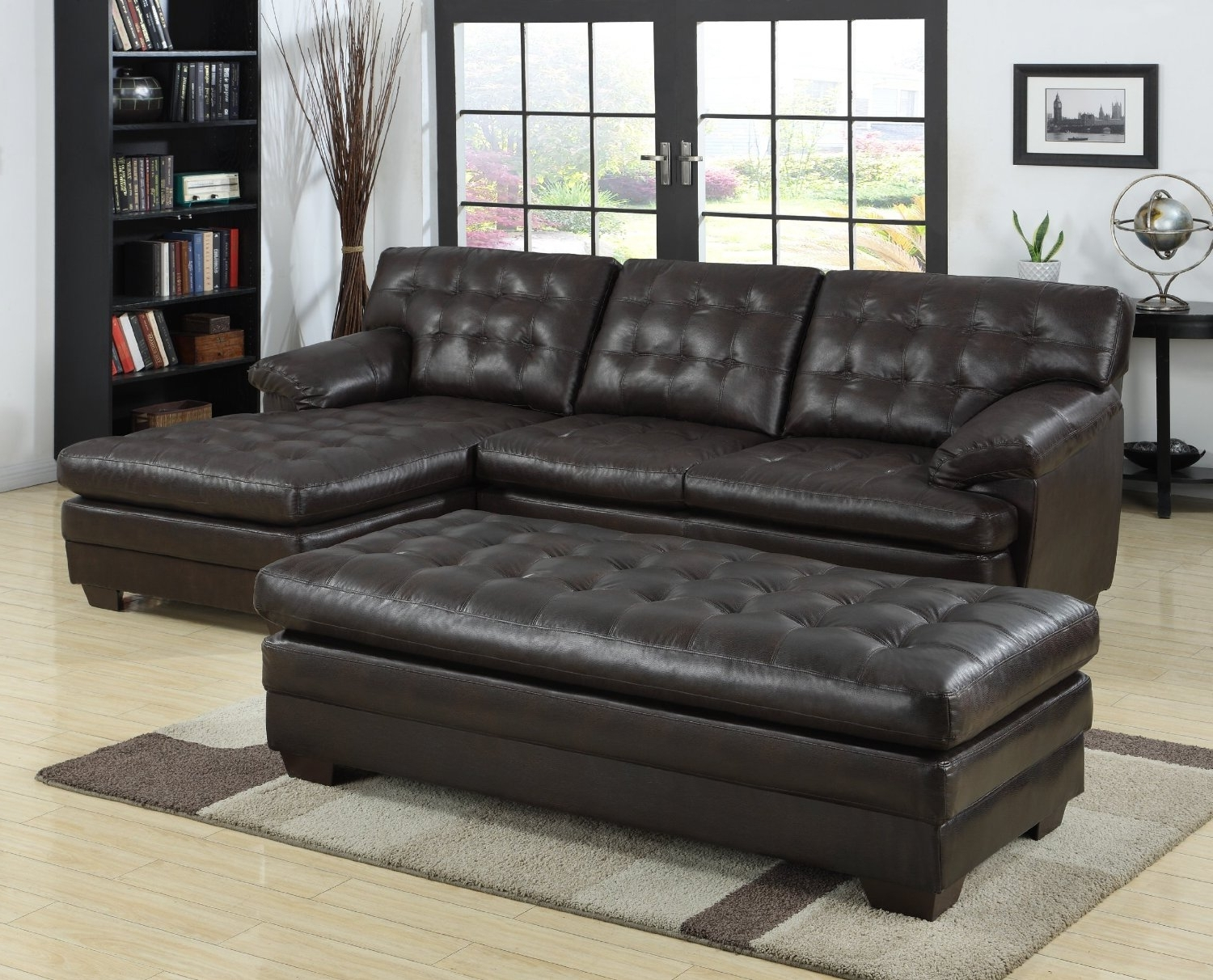 Black Tufted Leather Sectional Sofa With Chaise And Bench Seat Inside Current Black Leather Sectionals With Chaise (View 7 of 15)