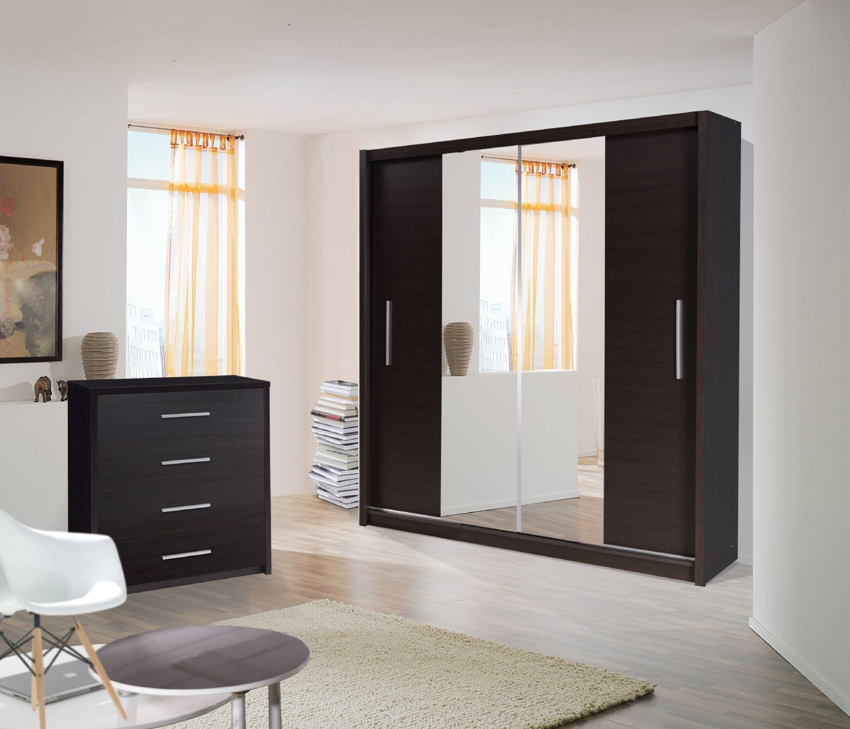 Black Wardrobes With Mirror With Regard To Famous Mirror Design Ideas: Black Gloss Wardrobes With Mirrored Sliding (View 6 of 15)
