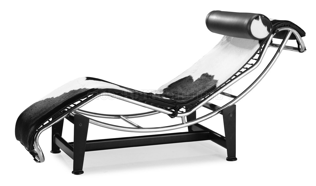 Black & White Pony Leather Modern Chaise Lounger Intended For 2018 Modern Chaises (View 1 of 15)