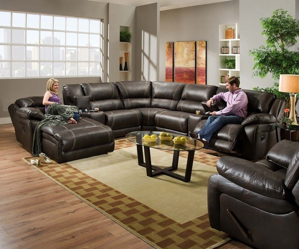 Blackjack Simmons Brown Leather Sectional Sofa Chaise Lounge Inside Well Known Reclining Chaises (View 3 of 15)