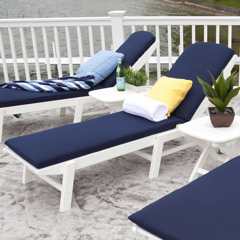 Blue Outdoor Chaise Lounge Chairs Pertaining To Fashionable Convertible Chair : Outdoor Chair Cushions Double Chaise Lounge (View 2 of 15)
