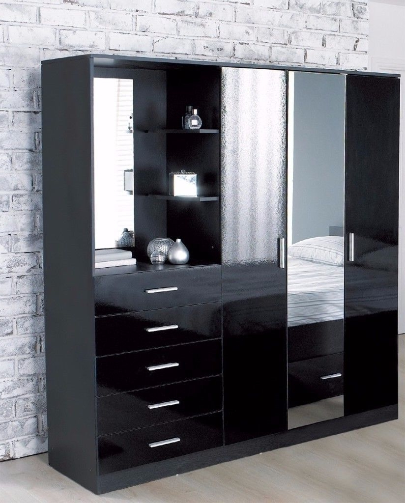 Brand New Carleton High Gloss Mirrored Combi Unit Black 3 Door Regarding Well Liked Black 3 Door Wardrobes (View 8 of 15)