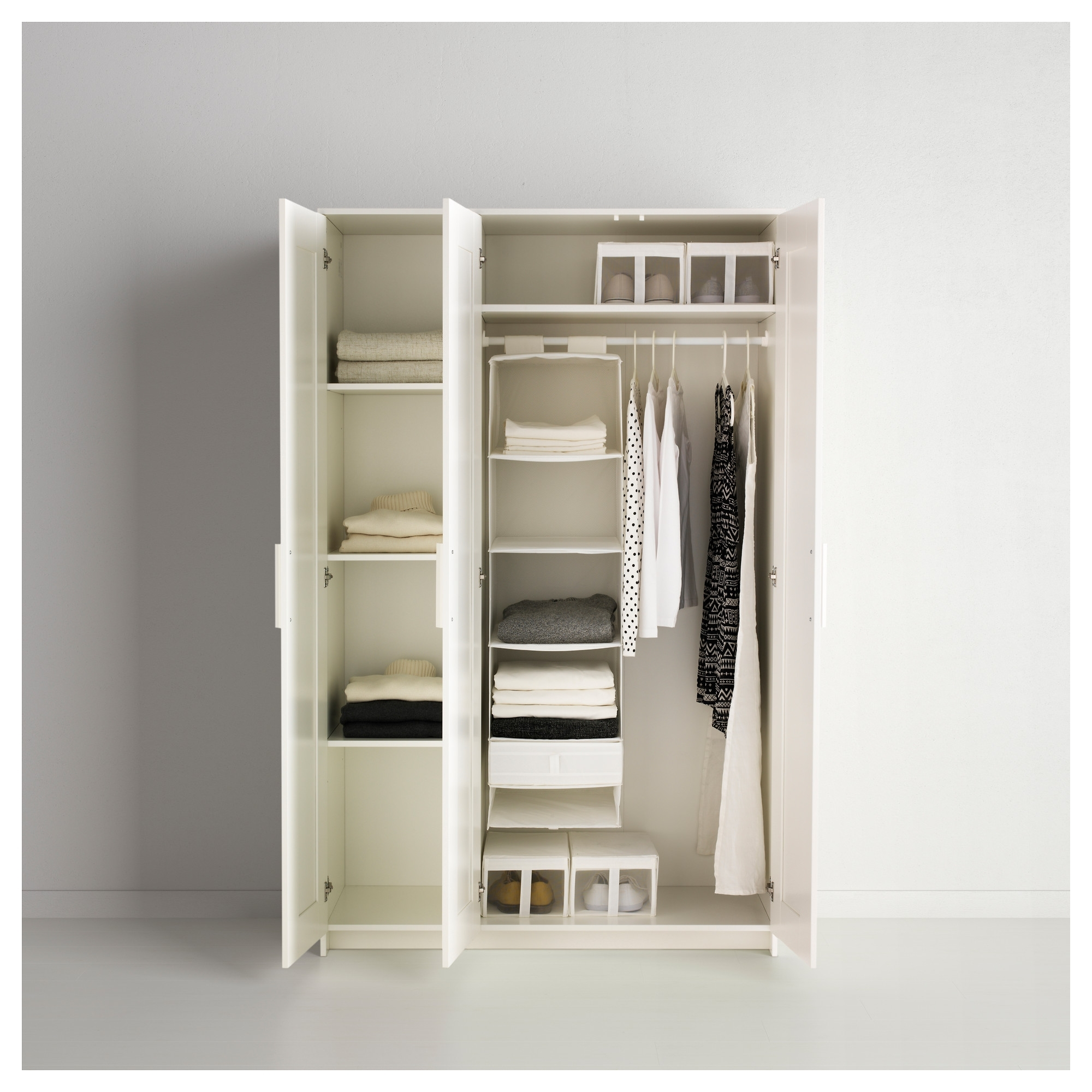 Brimnes Wardrobe With 3 Doors White 117X190 Cm – Ikea Within Newest 3 Door Wardrobes (View 7 of 15)
