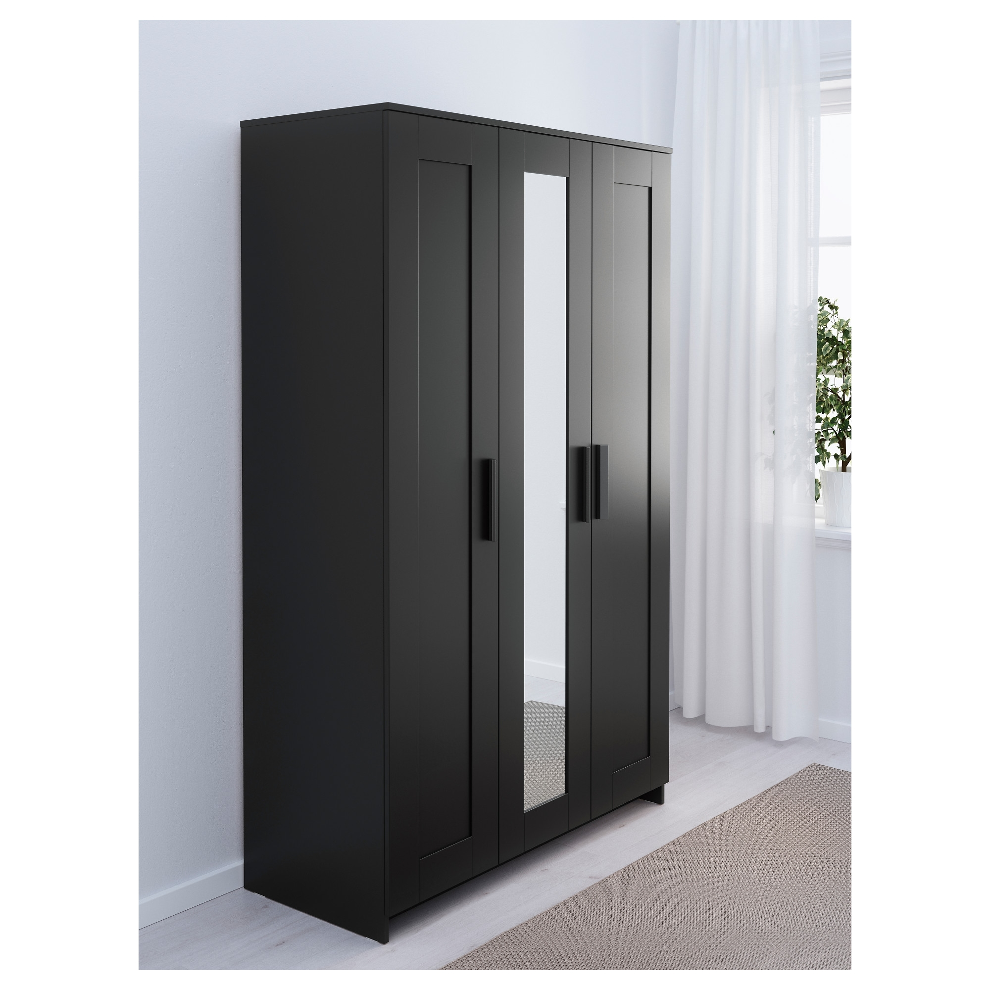 Brimnes Wardrobe With 3 Doors – White – Ikea Pertaining To Well Known Black Wardrobes With Mirror (View 7 of 15)