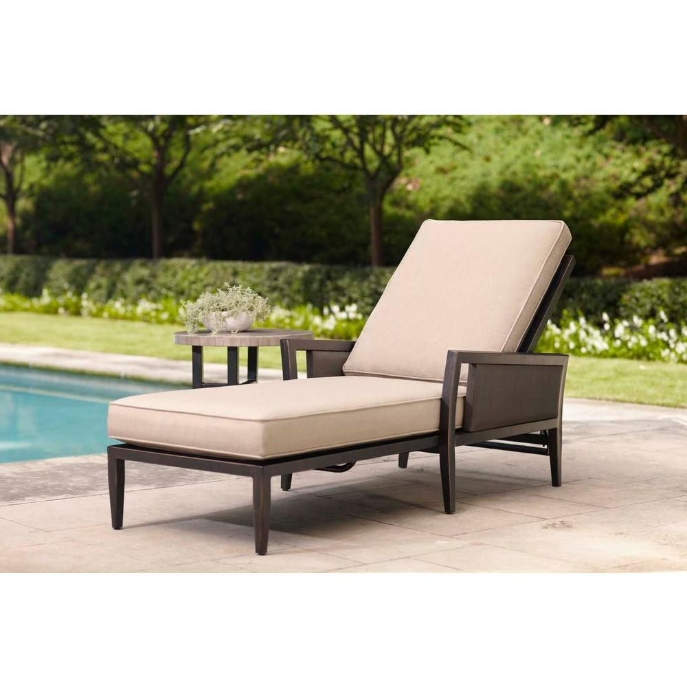 Brown Jordan Greystone Patio Chaise Lounge With Sparrow Cushions Throughout Newest Home Depot Chaise Lounges (View 12 of 15)