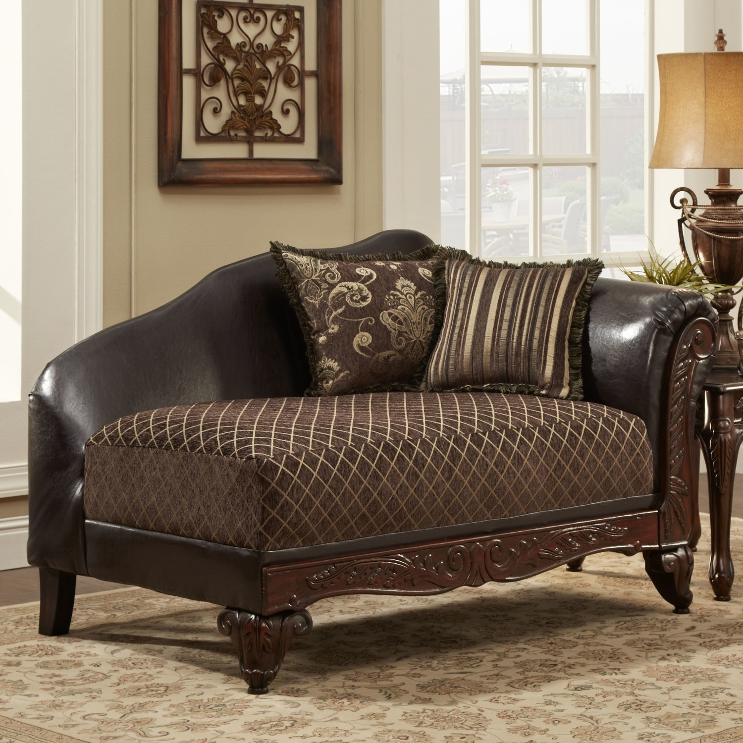 Brown Leather Chaise Lounges Pertaining To Fashionable Wonderful Brown Leather Chaise Lounge With Traditional Chaise (View 6 of 15)