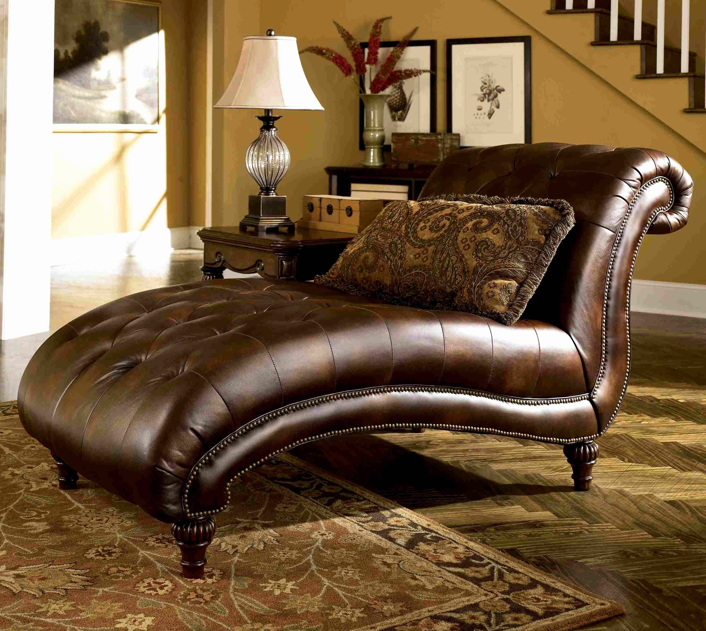 Brown Leather Chaise Lounges With Popular Home Designs : Living Room Chaise Lounge Chairs Overstuffed Living (View 5 of 15)