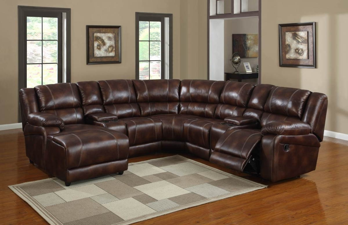Brown Leather Sectionals With Chaise Intended For Well Liked Elegant Brown Leather Corner Sectional With Recliner And Chaise Of (View 4 of 15)