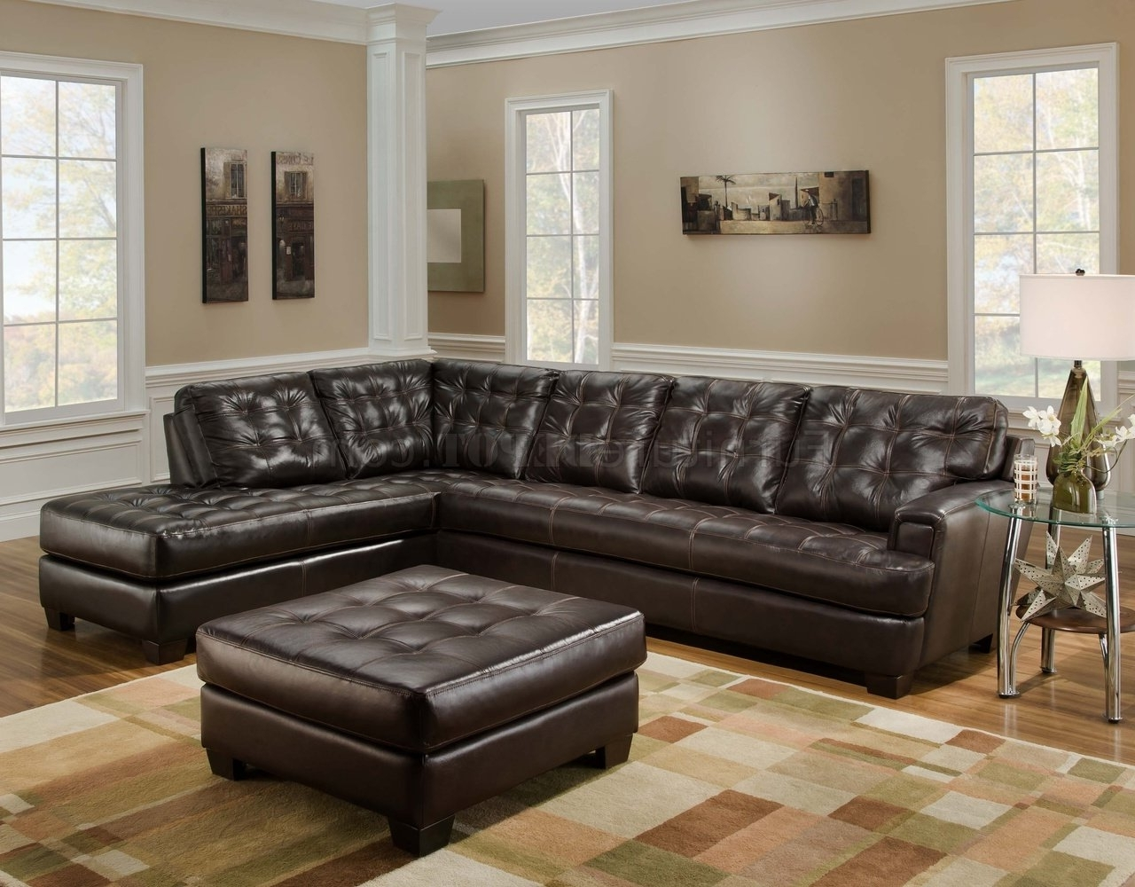 Brown Leather Sectionals With Chaise With Regard To 2017 Chicory Brown Tufted Top Grain Leather Modern Sectional Sofa (View 6 of 15)