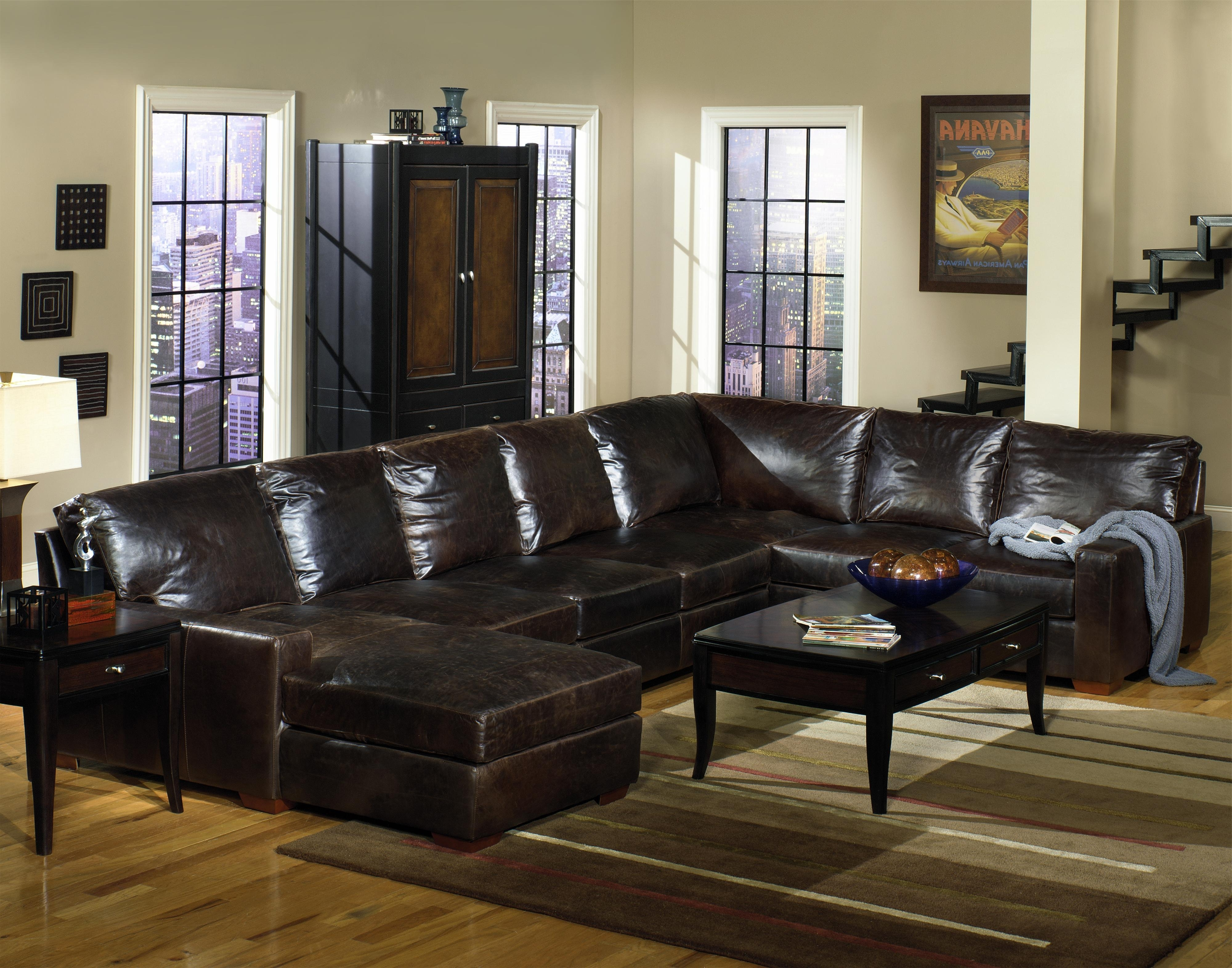 Brown Leather Sectionals With Chaise Within Famous Usa Premium Leather 9935 Track Arm Sofa Chaise Sectional (View 7 of 15)