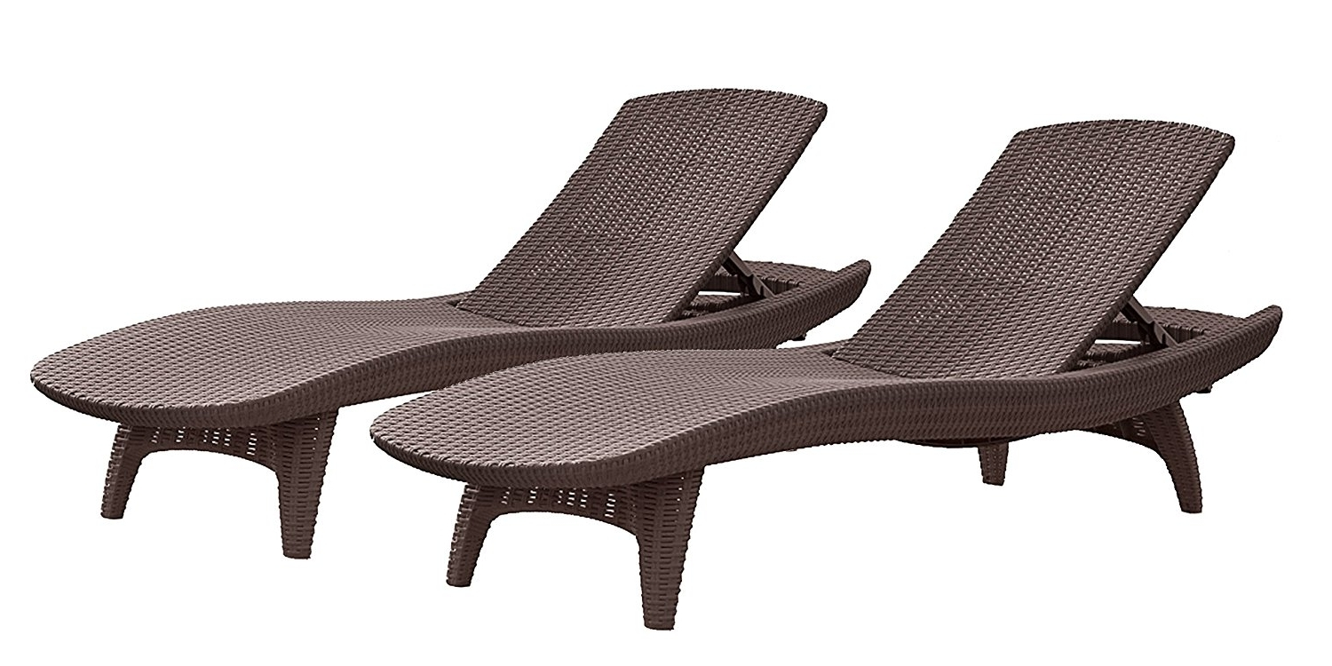 Brown Outdoor Chaise Lounge Chairs Within 2017 Amazon : Keter Pacific 2 Pack All Weather Adjustable Outdoor (View 6 of 15)