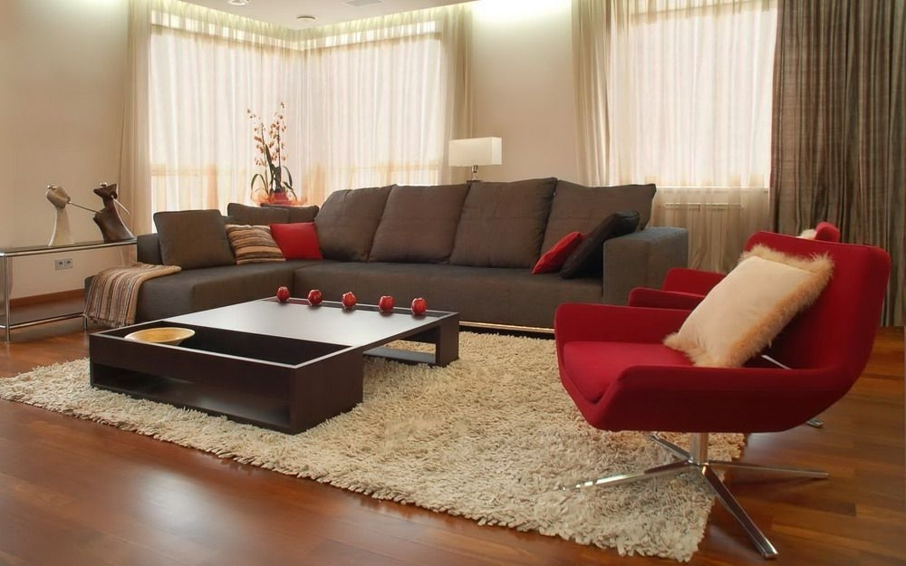 Brown Sofa And Red Chairs In A Modern Living Room Interior Design Intended For Popular Brown Sofa Chairs (View 2 of 10)