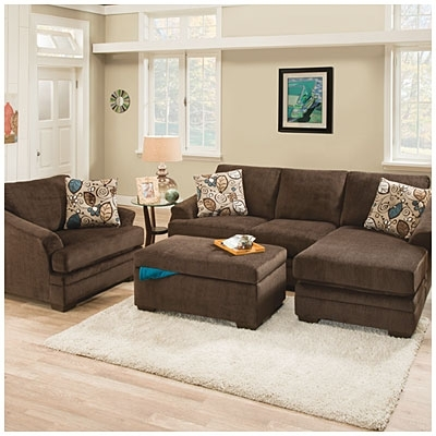Brown Sofa Chairs For Newest Big Lots $550 Sunflower Brown Sofa With Reversible Chaise (View 3 of 10)
