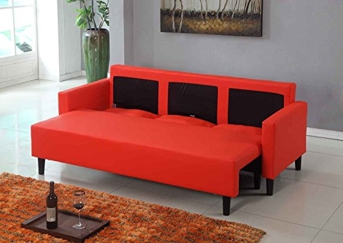 Buy Large Red Leather Modern Contemporary Within Most Current Red Sleeper Sofas (View 2 of 10)