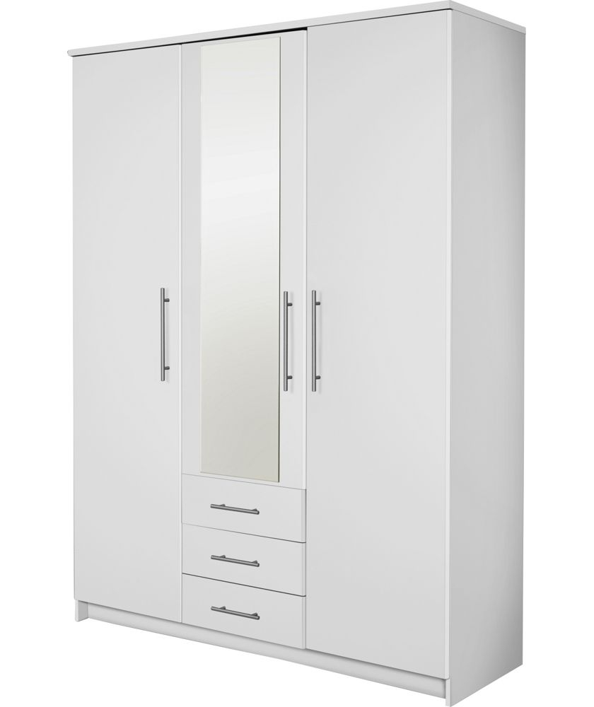 Buy Normandy 3 Door 3 Drawer Large Mirrored Wardrobe – White At Throughout Favorite 3 Door White Wardrobes With Drawers (View 9 of 15)