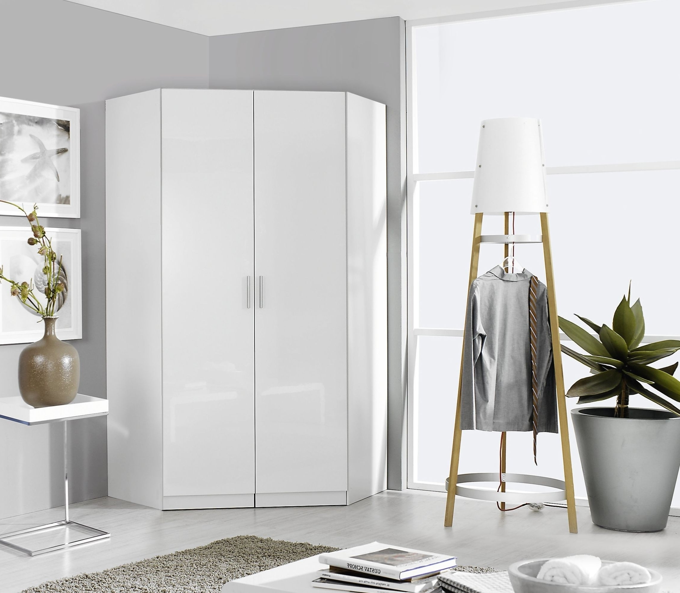 Buy Rauch Celle Corner Wardrobe Online Cfs Uk Inspirational White For Well Known White Gloss Corner Wardrobes (View 2 of 15)