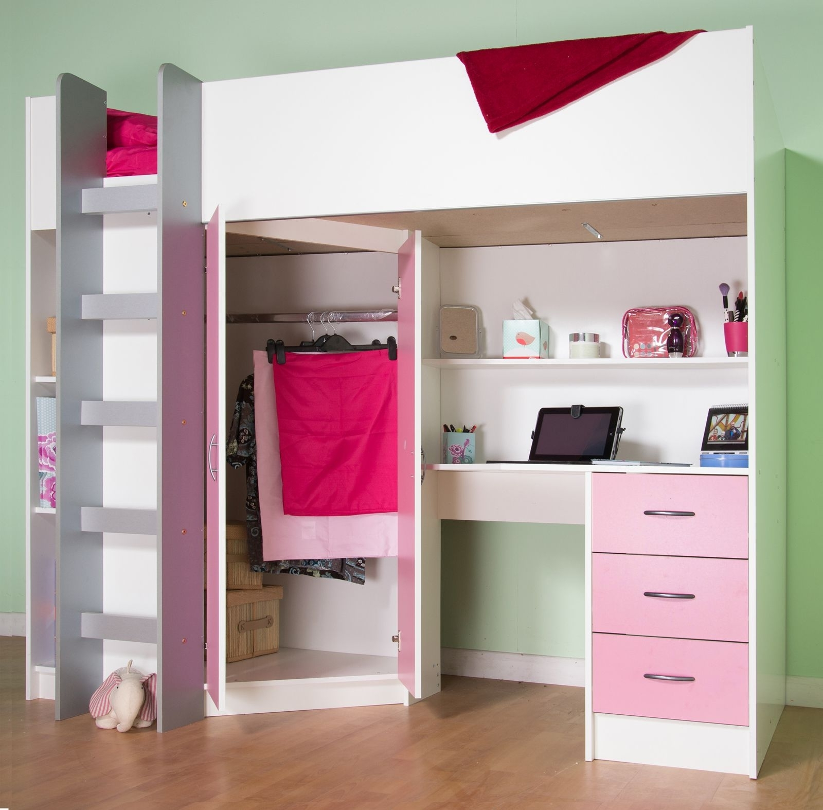 Calder White High Sleeper Cabin Bed For Most Current High Sleeper Bed With Wardrobes (View 2 of 15)