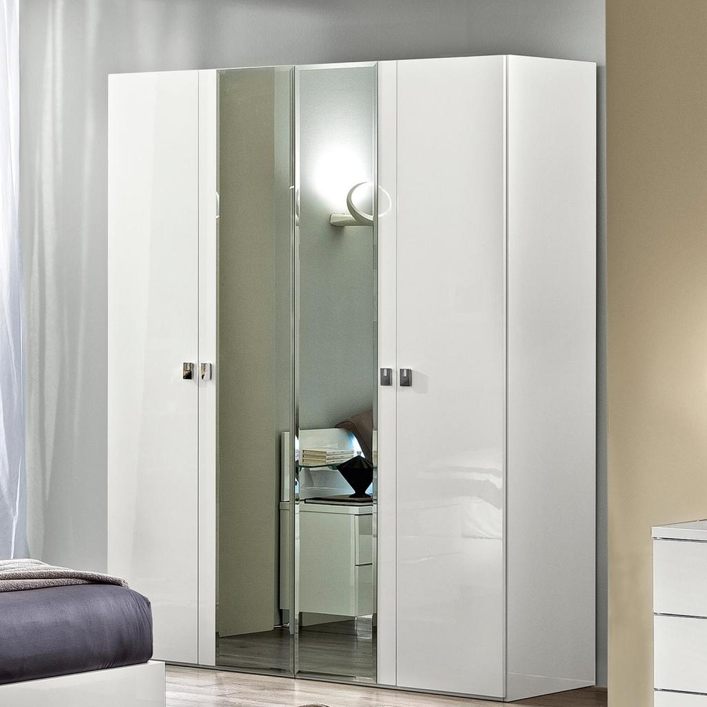 Caligula White Or Walnut High Gloss/mirrored 4 Door Wardrobe : F D For Most Current White Gloss Mirrored Wardrobes (View 3 of 15)