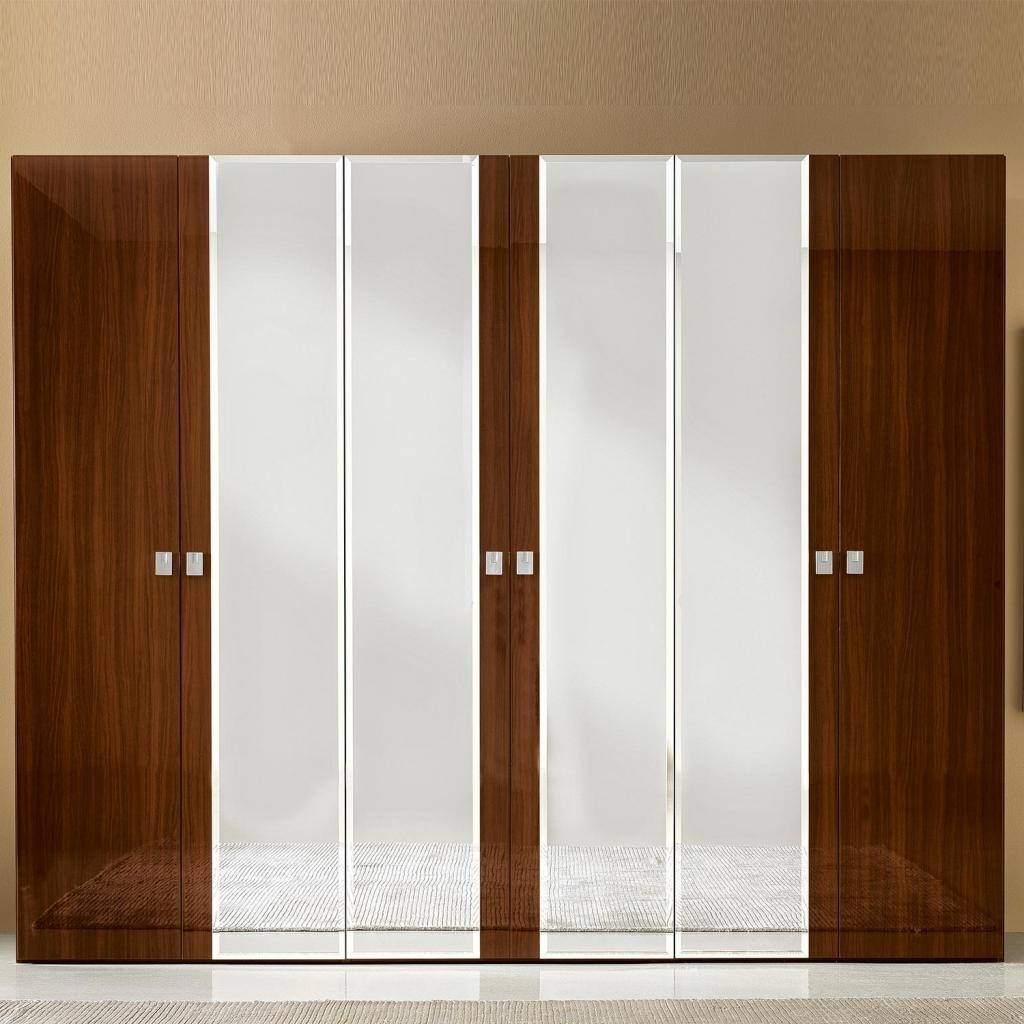 Caligula White Or Walnut High Gloss/mirrored 6 Door Wardrobe : F D Intended For Well Liked 6 Door Wardrobes (View 12 of 15)