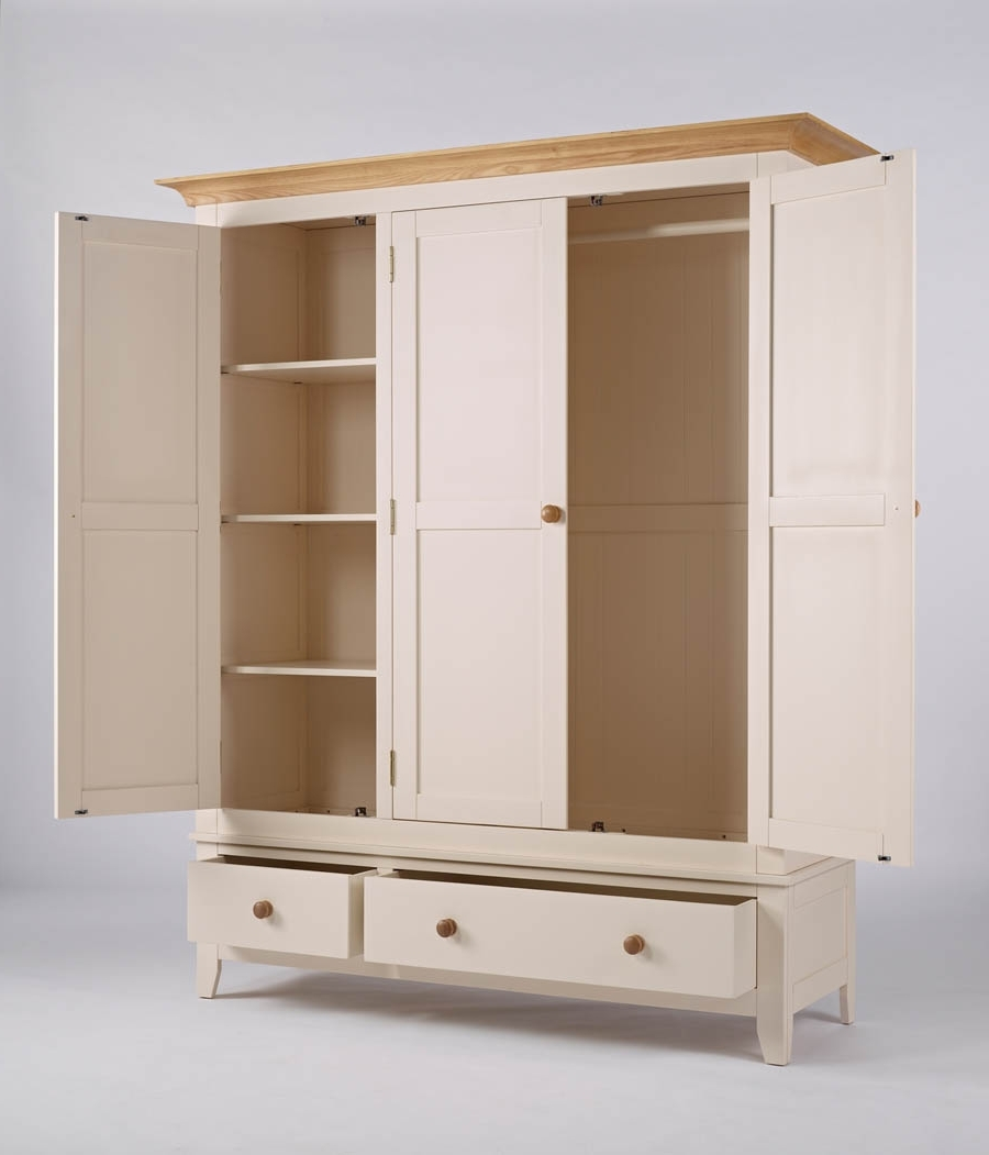 Camden Painted Wardrobe 3 Door 2 Drawer With Fashionable 3 Door Pine Wardrobes (View 11 of 15)