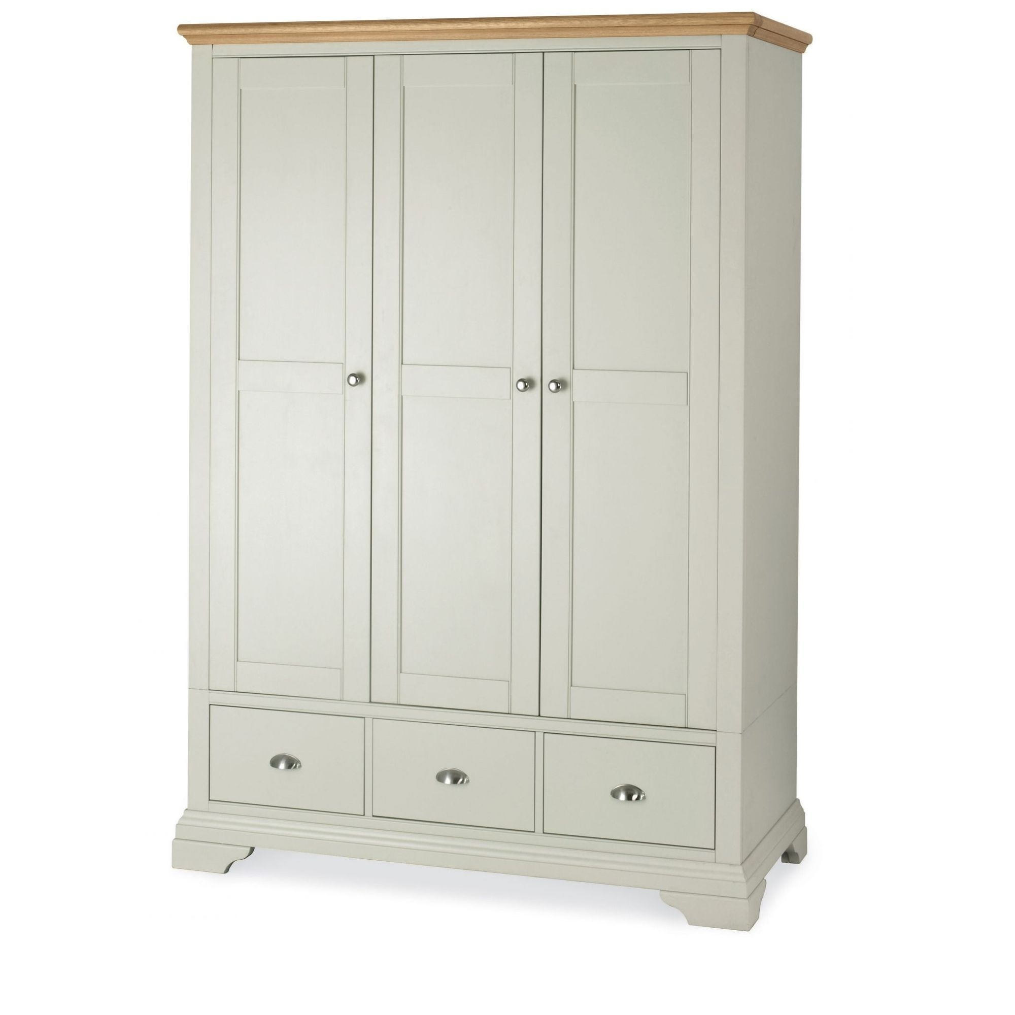 Camden Wardrobes Inside Most Popular Cookes Collection Camden Soft Grey And Pale Oak Triple Wardrobe (View 6 of 15)