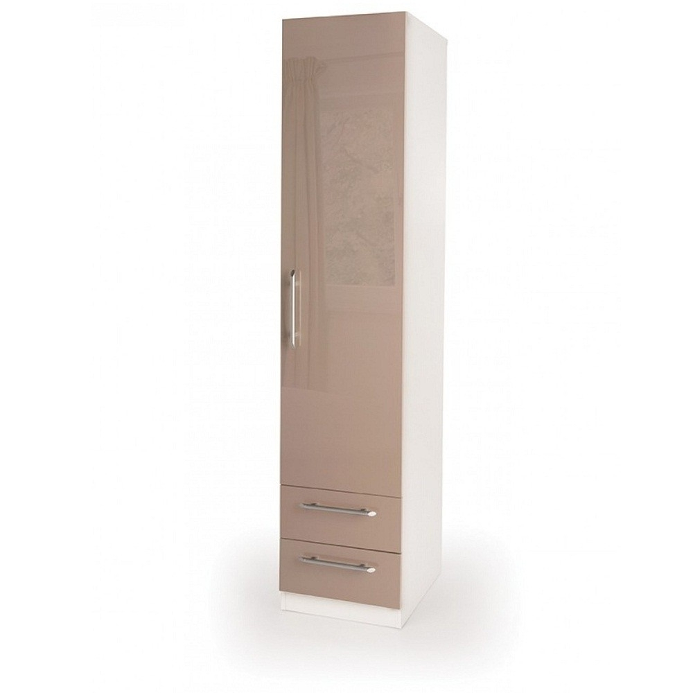 Camden Wardrobes Within Well Known Connect Camden 1 Door Wardrobe With 2 Drawers – High Gloss Mocha (View 11 of 15)