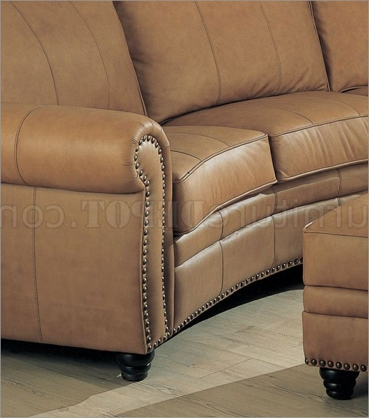 Camel Colored Sectional Sofas Within Popular Leather Sectional Sofa & Ottoman Set W/nail Head Design (View 9 of 10)